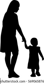 Silhouette vector of mother and daughter
