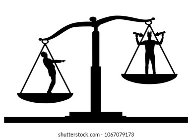 Silhouette vector of an ordinary man on scales of justice, he is in priority and he laughs at a selfish man with a crown on his head. The concept of egoism as a problem in a normal society
