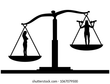 Silhouette vector of an ordinary woman on the scales of justice in priority over a selfish woman with a crown on her head. The concept of egoism as a problem in a normal society