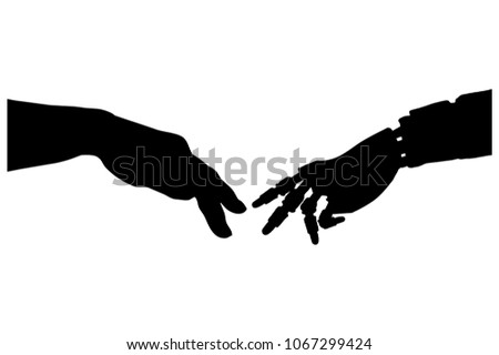 Silhouette Vector Prosthesis Bionic Hand Touch Stock Vector Royalty