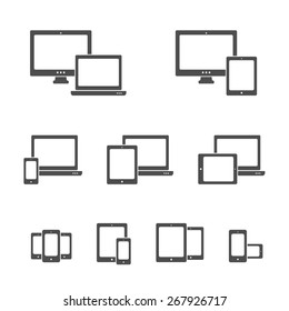 Silhouette vector responsive web design icons. Smartphone, desktop computer, laptop and tablet PC icons and combinations.