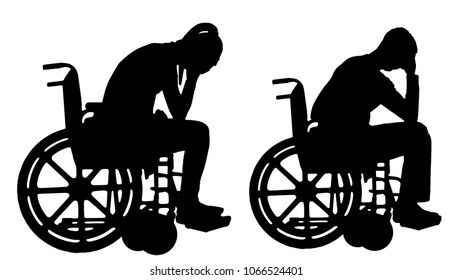 Silhouette vector of a sad disabled woman and man in a wheelchair crying. The concept of people with disabilities experiencing grief for the loss of health