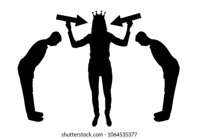 Silhouette vector selfish woman with a crown on her head trying to attract attention. The servants worship her. The concept of selfishness and narcissism