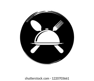 Silhouette Vector Service with Cloche and Crossed Spoon and Fork on the Restaurant Sign Symbol Icon Classic Circle Logo Template Design Inspiration