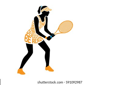 Silhouette vector of tennis player from text concept in standing posture. Illustration about sport and exercise.