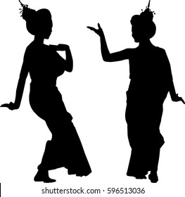Silhouette vector of Thailand Dancing art, Thai Classical Dance,(Ram thai) is the main dramatic art form of Thailand. Thai dance, like many forms of traditional Asian dance.