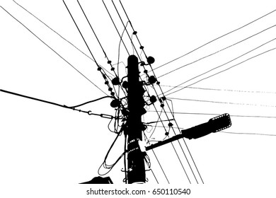 silhouette vector trace of overhead electrical power cables