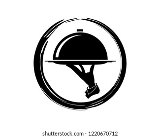 Silhouette Vector Tray Service Catering Menu on the Restaurant with Hands Bring the Cloche Sign Symbol Icon Circle Logo Template Design Inspiration