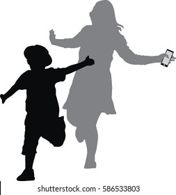silhouette vector of two boy and mother jumping up in the air