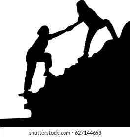 Silhouette vector of the two people woman success on the peak of mountain, Teamwork couple hiking, trust assistance and silhouette in mountains, Team of climbers helping hand on mountain top
