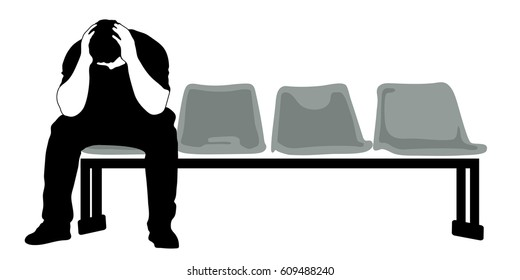 Silhouette vector of Very sad old man sitting alone on white background