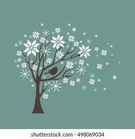 Silhouette vector white snow tree.