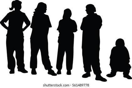 Silhouette vector of young girl on white background