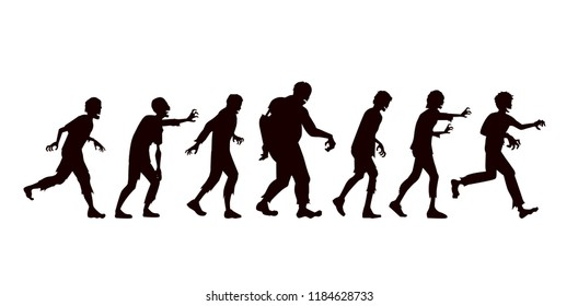 Silhouette Vector zombie group in side view walking on white background.