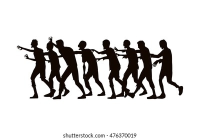 Silhouette Vector zombie group walking on white background.