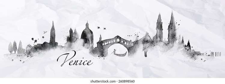 Silhouette Venice city with splashes drops and streaks landmarks drawing with ink on crumpled paper background.