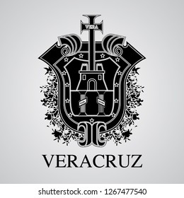 Silhouette of Veracruz Coat of Arms. Mexican State. Vector illustration