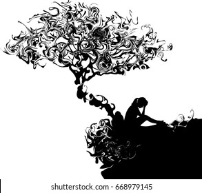 Silhouette of Very sad young woman sitting alone under the tree on white background, Depressed young man sitting
