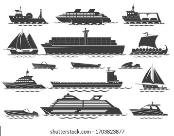 Silhouette of vessels. Sailing boat, sea cruise for vacation, travel speed yacht and marine sailboat vector icon set