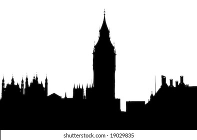 Silhouette view of Big Ben from the South Bank