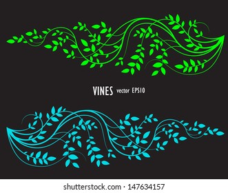 silhouette of vine and leaves, decorative element for your border, corner or background