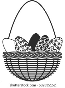 Silhouette of vintage basket with Easter eggs isolated on white