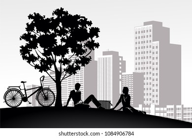 silhouette vintage bike and love man girl couple relax on white building city background