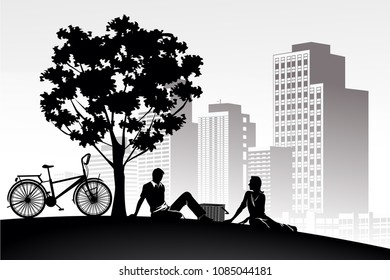 silhouette vintage bike and love man girl couple romantic relax on white building city panoramic background