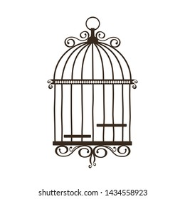 Silhouette of vintage birdcage on white background. Vector illustration