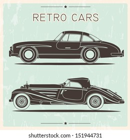 Silhouette of vintage cars