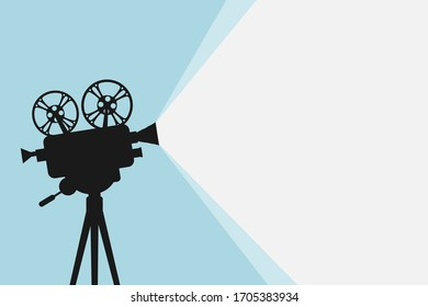 Silhouette of vintage cinema projector on a tripod. Cinema background. Movie festival template for banner, flyer, poster or tickets. Old film projector with place for your text. Movie time concept.