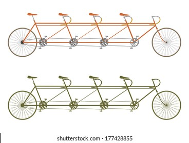 Silhouette of a vintage four seater tandem bike on a white background. Vector