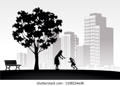 silhouette vintage love play mother child girl family relax on white building city panoramic background