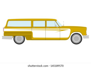 Silhouette of vintage station wagon on a white background.