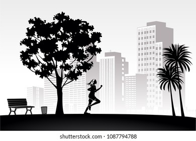 silhouette vintage Tree palm chair bench, woman running in the park relax on white building city panoramic background, black style vector template symbol stock illustration web