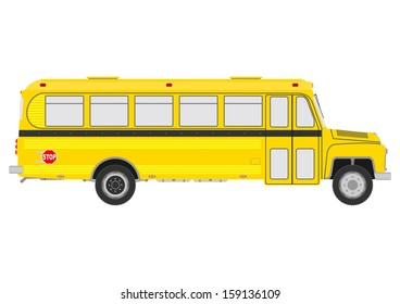 Silhouette of vintage yellow school bus on a white background.