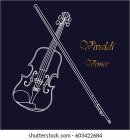 Silhouette of violin as a symbol of Venice Antonio Vivaldi. Vector illustration background.