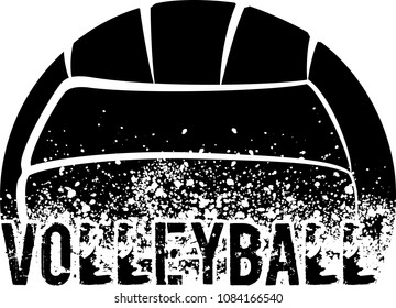 silhouette of an a volleyball with dirt splatter and a grunge typeface of the word volleyball.