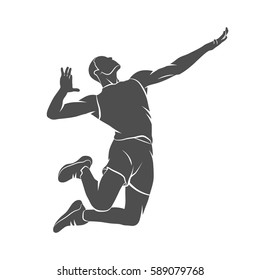 Silhouette Volleyball Player Jumping On A White Background Vector Illustration