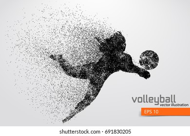 Silhouette of volleyball player. Vector illustration
