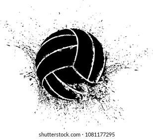 Silhouette of a volleyball shattering.