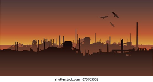 Silhouette of vultures hovering over a desolate, abandoned industrial area.
