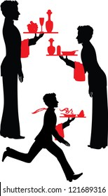 Silhouette Waiter with the tray vector illustration