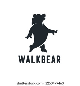 Silhouette, walk Bear, side view, walking, symbol, logo design inspiration