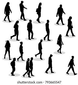 silhouette of walking people set
