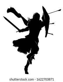 The silhouette of a warrior with a sword in one hand and a shield with protruding arrows in the other, running to attack . 2D illustration.