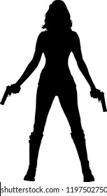 Silhouette warrior woman holding guns in vector illustration