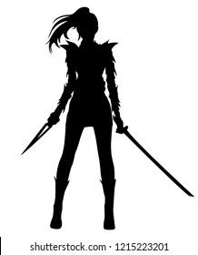 Silhouette warrior woman holding swords in vector illustration