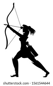 Silhouette warrior woman loading the bow with arrow in side pose in vector illustration