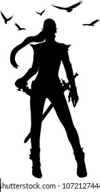 silhouette warrior woman in vector illustration
